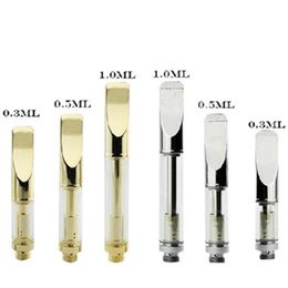 Wholesale round tank - Gold 92A3 Round Flat Mouthpiece Atomizer Cartridge 0.5ml 1.0ml Ceramic Wich Coil A3 Bud Touch 510 Thraed Tank For CE3 Preheat Battery