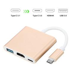 Adaptador av digital online-USB3.1 Tipo-C a 4K HDMI USB-C Adaptador multipuerto digital AV HDMI4K OTG USB 3.0 HUB Cargador para Macbook 12