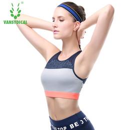 b4e18e085e858 VANSYDICAL 2017 Hot Sports Bra Women Mesh Fitness Top Shockproof Yoga  Padded Workout Gym Push Up Running Tank