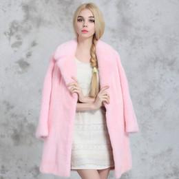 Wholesale Ladies Mink Fur Coats - 2015 Korean new winter women's faux fur coat , Suit collar pink long high-grade mink coats ladies fashion warm clothes