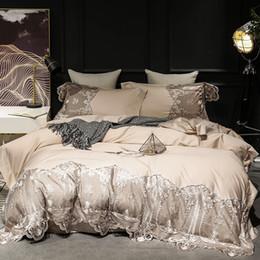 2019 tamanho europeu da fronha de travesseiro Estilo de luxo europeu laço do bordado confortável cama Set Rainha King Size Duvet Cover Lençois Folha de cama Fronhas 4pcs tamanho europeu da fronha de travesseiro barato