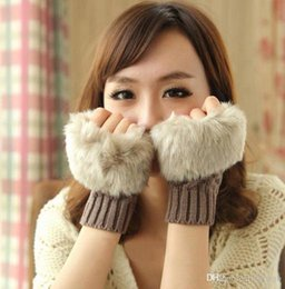 Wholesale Fur Arm Warmers - Women Girl Knitted Faux Rabbit Fur gloves Mittens Winter Arm Length Warmer outdoor Fingerless Gloves colorful