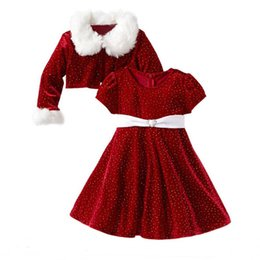 Wholesale Kids Santa Costumes - Children Christmas Clothing Set Toddler Girls Santa Claus Costumes Jacket Coat+Dress Two-piece Suit Kids Halloween Clothes