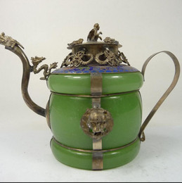 Wholesale jade talisman - Collectible old china handwork superb jade teapot armored dragon lion monkey lid