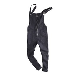 4203154469bc6 2017 HipHop Ripped Suspenders Jeans Casual Distrressed Jeans Jumpsuits Men  Denim Bib Overalls Baggy Multi pocket Trousers 092503