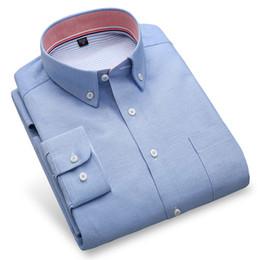 Wholesale formal shirt dress men - High Quality Men Casual Shirts Fashion Spring Autumn Formal Long Sleeve Solid Color Slim Fit Social Men Oxford Dress Shirt