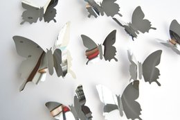 Wholesale Removable Wall Art Stickers - 3D Butterfly Wall Sticker mirror wall stickers Home Decor DIY silver butterfly Carved bedroom Removable 12pcs set Stickers 2018 in stock