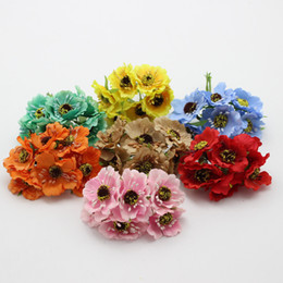 Wholesale Pink Corn - Wholesale-High quality Silk Poppies camellia BIG 5cm 60pcs lot Artificial Flowers Corn poppy Hand Made Small wedding decoration