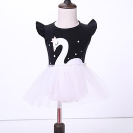 Wholesale Baby Swan Dress - Baby girls clothing Infants dresses Flutter sleeve Princess Bubble dress Swan print 2018 Summer New Tulle dress 3M-2T