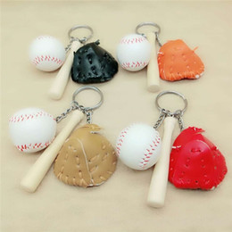 Wholesale bat rings - 2018 New Leather Baseball Goves Keychain Wood Baseball Bat Keychain Key Rings Bag Hangs Fashion Jewelry 340032