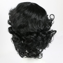 Wholesale Synthetic Wigs For Men - Black Wavy Synthetic Hair Wigs for Women Men Natural Style Heat Resistant Full Hair Wigs Party Daily Cosplay Wig African American Curly Wigs