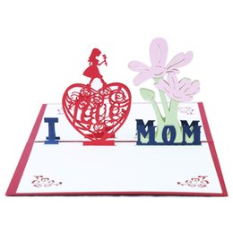Wholesale Handmade Papers - Creative Mother Day Greeting Cards Handmade 3D Pop Up Paper Blessing Card Hot Sale 5 5kk C R