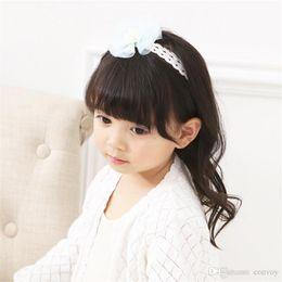 Wholesale flower headbands for children - Newborn Baby Headbands Chiffon Flower With Pearl Kids Elastic Cute Hairbands for Girls Children Hair Accessories KHA683