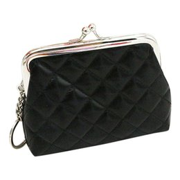 Wholesale black portfolio - Small Coin Purse Women's Purse Leather Wallet Portfolio Female Pouch Wallet Card Holder Mini Clutch Money Bag Ladies Handbags