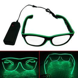 Commerci all'ingrosso Semplice occhiali El Wire Moda Neon LED Light Up Shutter a forma di sole Occhiali Rave Costume Party DJ Bright SunGlasses da