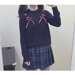 Wholesale Pink Ribbon Sweater - 2016 Soft Sister Lace Bow Ribbon Women's Sweaters Solid Color Pink Navy blue Young Girl Preppy style Lovely Cute Lolita Sweater