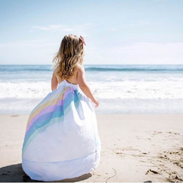Wholesale white bohemian clothes - Rainbow Dress 2018 Summer New Cotton Batch Baby Girl Slip Dress Children Clothing E812015