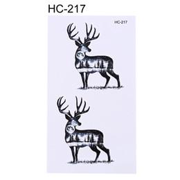 Wholesale wholesale temporary tattoo paper - 1Sheet New Elk Deer fox Tattoo Sticker Waist Hand Chest Body Art Temporary Tattoo Decal Paper for Women Men