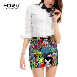 мини-юбки Скидка FORUDESIGNS Graffiti Pattern Women Casual Skirts Mini Pencil Skirt High Waist Sexy Comfort Ladies Short Skirt Girls Above Knee