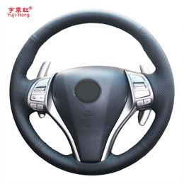 2019 nissan qashqai radio Yuji-Hong Car Steering cubre la caja para Nissan Teana 2013 X-Trail 2014 Qashqai 2016 cosido a mano artificial microfibra de cuero rebajas nissan qashqai radio