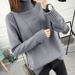 Wholesale matching christmas sweaters - Loose Cashmere Turtleneck Sweater Long Pullover Femme Fall 2018 Fashion Korean All Match Bottoming Thick Christmas Sweaters