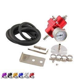 Wholesale Oil Regulators - 6 Colors Universal JDM Adjustable Aluminum Fuel Pressure Regulator+140 Psi Oil Gauge Jdm Kit