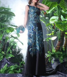 Wholesale Blue Green Peacock Dress - Fashion One Shoulder Peacock Evening Dresses Long Printed Prom Dress Sexy Formal Gowns Black Women Party Dresses 2018
