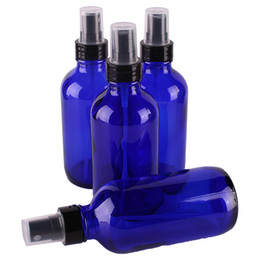 Wholesale Blue Bottle Essential Oils - 4pcs 120ml 4OZ Cobalt Blue Glass Spray Bottle w  Black Fine Mist Sprayer essential oil bottles empty cosmetic containers