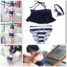 Wholesale Stripe Bikini Set - baby girl 3pcs set Swimsuit stripe Swimwear Bathing Swimming bikini suit navy swimsuit swimwear bathing with headband KKA4292