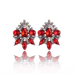 pendientes de racimo para las mujeres Rebajas Cluster Crystal Teardrop Flower Design Stud Pendientes Joyería de moda para mujeres Regalos del día de San Valentín de Navidad