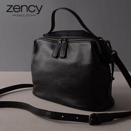 439bcf64ddea Zency Retro Black Women Handbag 100% pelle di mucca Lady Casual Tote moda  femminile Crossbody Messenger Borsa a tracolla grigio zency bags offerte