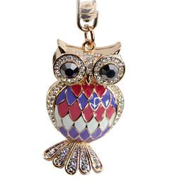 Wholesale Owl Key Pendant - 2018 unicorn Keychain Magicub Owl Crystal 18k gold Keyring Charm Pendant Handbag Purse Bag Key Ring Gift D7007914