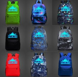 Wholesale wholesale pockets - 14 Styles 20L Fortnite Battle Royale Backpack Rucksack GLOW IN DARK School Bag Shoulder bag Travel Bag Luminous Shoulder Bags KKA465 6PCS