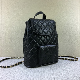 Wholesale Quilted Black Purse - top Quality Famous designer brand new Genuine Leather lambskin pocket chain quilted double shoulder backpack school bag purse