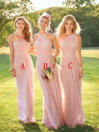 Wholesale Halter Neck Bridesmaid Dresses Chiffon - 2018 Blush Pink Long Country Bridesmaid Dresses Ruched Halter Neck Sweetheart Floor Length Backless Cheap Maid of the Honor Dresses Custom