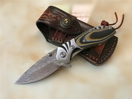 Wholesale knives leather handles - Top quality Flipper Folding Knife Damascus Steel Blade Micarta Handle EDC Pocket Knife Liner Lock With Leather Sheath EDC Gearh