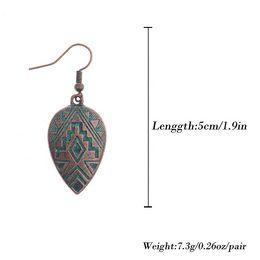Gioielli in bronzo indiano online-Orecchini pendenti stile vintage Amader per donne. Orecchini geometrici color bronzo. Orecchini femmina Ethinc Indian HQE531