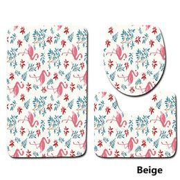 Wholesale Toilet Carpets - Flamingo Pattern 3 Pieces  Set Toilet Seat Cover Rugs U Shape Floral Bathroom Small Carpet Floor Feet Printed Bathmats