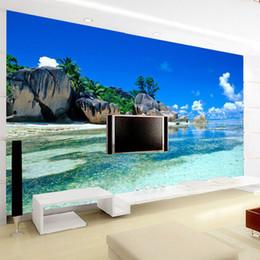 Wholesale vinyl sea backdrop - Custom 3D Mural Wallpaper Non-woven Bedroom Livig Room TV Sofa Backdrop Wall paper Ocean Sea Beach 3D Photo Wallpaper Home Decor