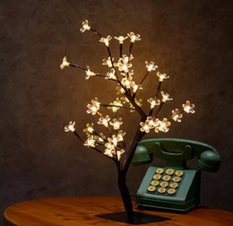 Wholesale Cherry Blossom Christmas Tree - Crystal Cherry Blossom 48 LEDs Tree Light Night Lights Table Lamp 45cm Black Branches Lighting Christmas Party Wedding LED Flowers Lights