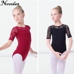 giacche da ginnastica nere Sconti New Black Lace Mesh Balletto Body per bambina Breve manica corta Balletto Abbigliamento Dancewear Bambini Ginnastica Body