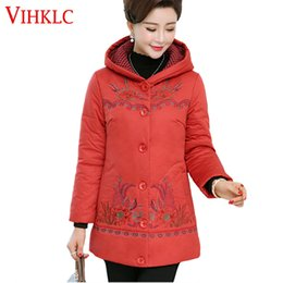 middle aged plus size clothing Coupons - 2017 New Warm Winter Jacket Women Embroidery Hooded Cotton-Padded Coat Plus Size XL-5XL Jacket Coat Middle Aged Clothing H627