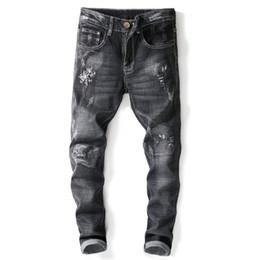 Hommes Skinny Déchiré Slim Plain Denim Vieilli Effiloché Fermeture Éclair Pantalon Long