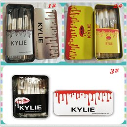 Wholesale Hair Gift Boxes - IN STOCK KYLIE Makeup Brushes Makeup Tools Professional Brush sets Iron box Free shipping+GIFT
