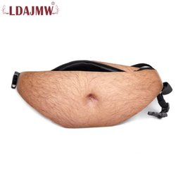 Wholesale Fun Packs - LDAJMW Fashion Novelty Fun Men Women Dad Bag Universal Flesh Colored Beer Waist Bags Fat Hairy Belly Fanny Pack Coin Purse