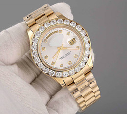 Wholesale Mens 18k Watch - Luxury Brand 18K Gold President Day-Date Geneva Men Diamonds Dial Big Diamond Bezel Automatic Wrist Watch AAA Mens Limited Edition Watches