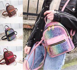Wholesale bling phone designs - NEW Fashion Style Sequin Stars PU Leather Small Girls Backpack Bling Design For Women Girls Shoulder Bags Travel Casual Shcool Bags
