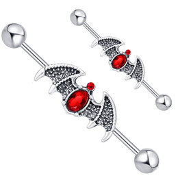 Canada En acier inoxydable chirurgical industriel Barbell boucle d'oreille 14 jauge Piercing Bars Cartilage boucle d'oreille Batman Body Jewelry 20 pcs supplier surgical earrings Offre