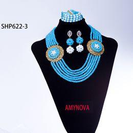 Wholesale Plants Supports - Wholesale Nigeria Wedding Jewelry Set, Blue Acrylic Beads Hand Knit, South African Bride Wedding Jewelry Set, Support Customization