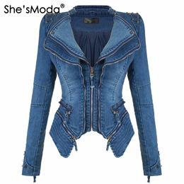 Slim fit denim chaqueta mujer online-She'sModa Jeans Denim Chaqueta de hombro acolchada para mujer Slim Fit Zipper Abrigo de invierno Moto Biker Chaquetas de cuero Negro